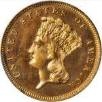 3 dollar 1885 proof na aukci v USA