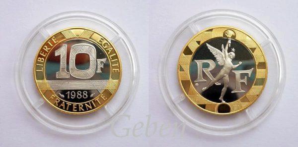 """10 FRANK 1988 Zlato 12 g ! Velmi vzácný """"R"""""""