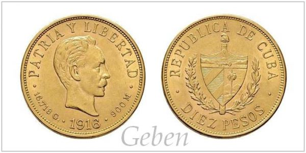 10 Pesos 1916 Kuba