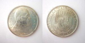 10 Kč 1928 Pamětní stříbrná Masaryk