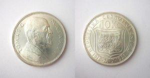 10 Kč 1928 Pamětní stříbrná Masaryk !