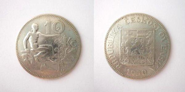 10 Kč 1930 stříbrná