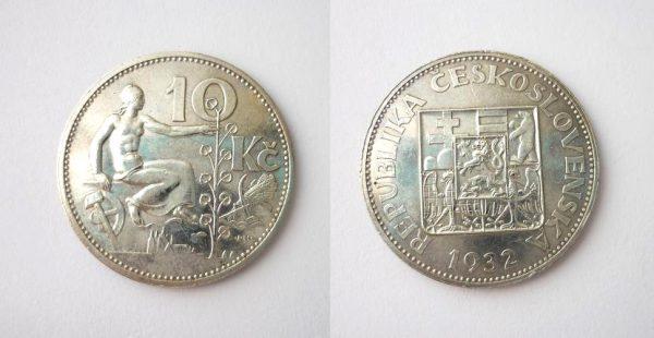 10 Kč 1932 stříbrná stav !