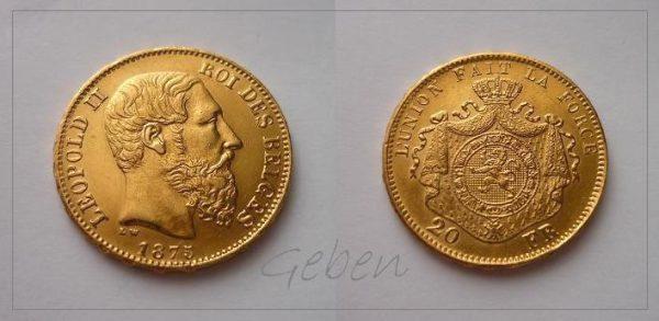20 Frank 1875 Belgie Leopold II.