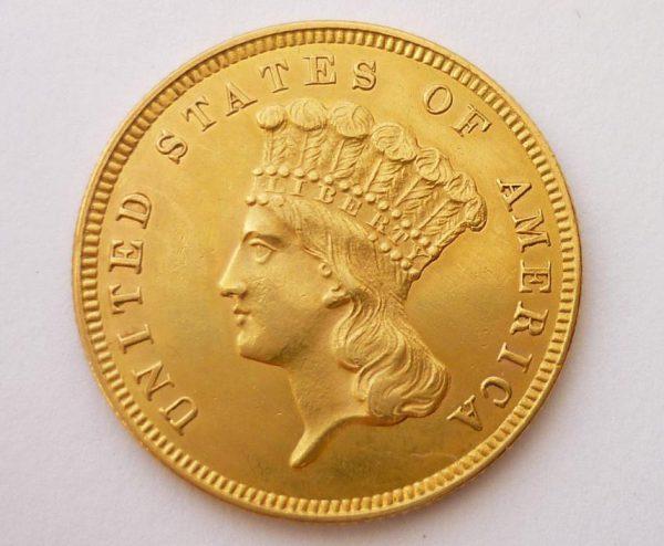 3 Dollars 1859 Indian Head Velmi vzácný - RR !