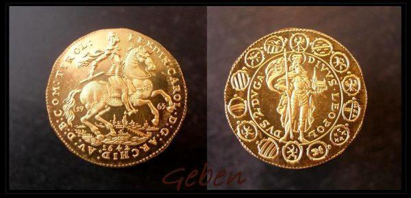 2 Dukát 1642 Ferdinand / sv. Leopold
