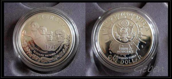 Zlaté mince USA 1991 Mount Rushmore - luxusní sada