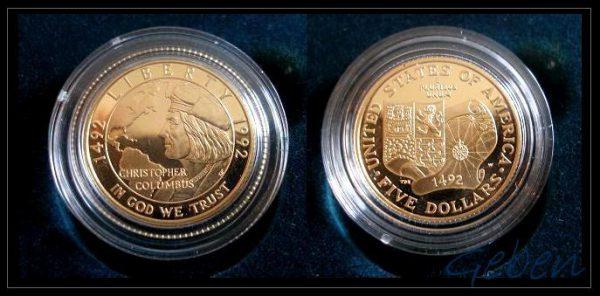 Zlaté 5 Dollary v luxusní sadě 6 mincí Columbus 500. výročí USA 1992