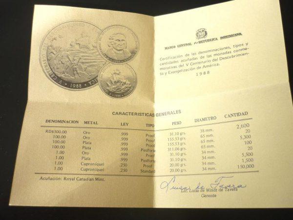 100 Pesos Dominika 1988
