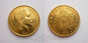 20 Frank 1869 BB Napoleon III.
