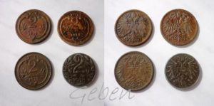 2 Heller 1912, 1913, 1915 a 1918 Fe