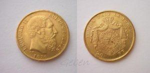 20 Frank 1876 Belgie Leopold II.