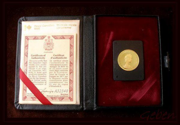Velký zlatý 100 Dollar 1977 25. výročí vlády Elizabeth II.