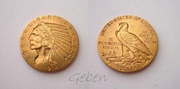 5 Dollars 1914 S - Indian Head