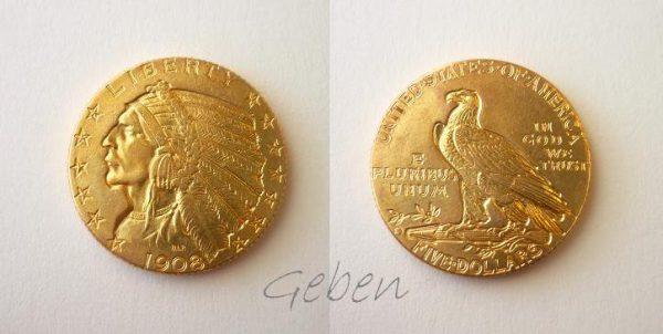 5 Dollars 1908 D Indian Head Half Eagle