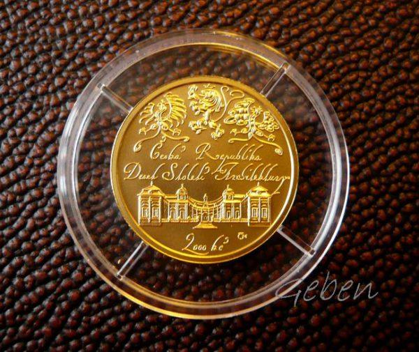Zlatá mince 2000 Kč Buchlovice barokní zámek
