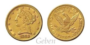 5 Dollars 1882 Liberty / Coronet Head – Half Eagle