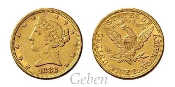5 Dollars 1882 Liberty / Coronet Head – Half Eagle