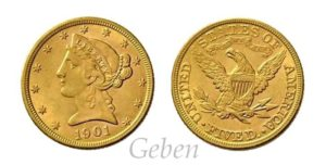 5 Dollars 1901 Liberty / Coronet Head – Half Eagle