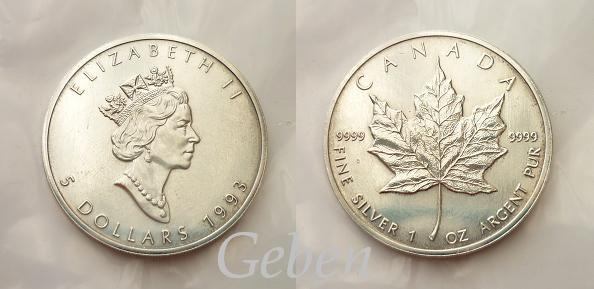 5 Dolar 1993 Maple Leaf 1 Oz