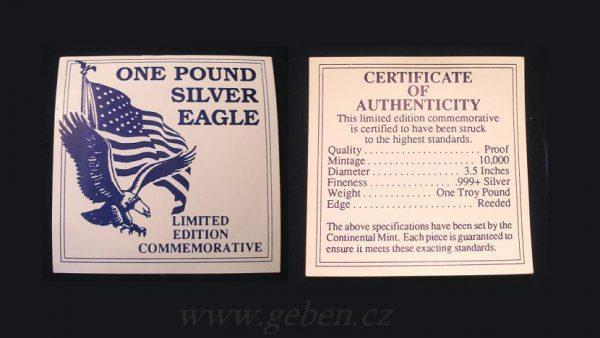 ONE POUND SILVER EAGLE 12 Oz !