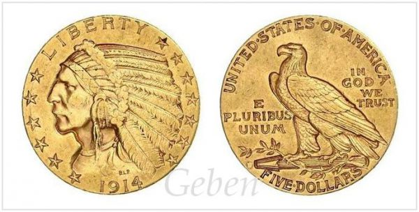 5 Dollars 1914 D Indian Head Half Eagle