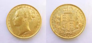 Sovereign 1873 Victoria Young Head Shield č. 15 !
