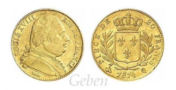 20 Frank 1814 Q ! Louis XVIII. R