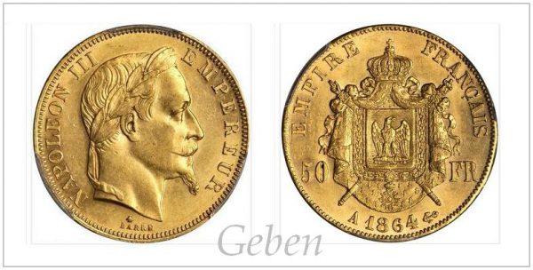 50 Frank 1864 A ! Nádherný a vzácný