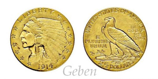 2 1/2 Dollars 1914 D Indian Head – Quarter Eagle