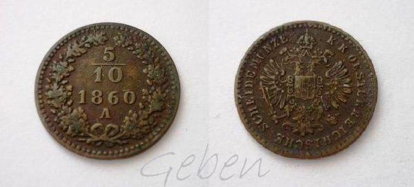 5/10 Krejcaru 1860 A