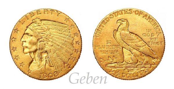2 1/2 Dollars 1908 Indian Head – Quarter Eagle