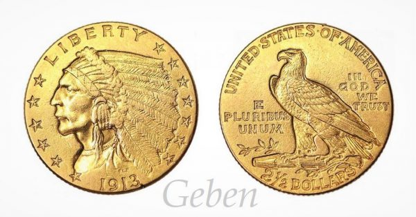 2 1/2 Dollars 1913 Indian Head – Quarter Eagle