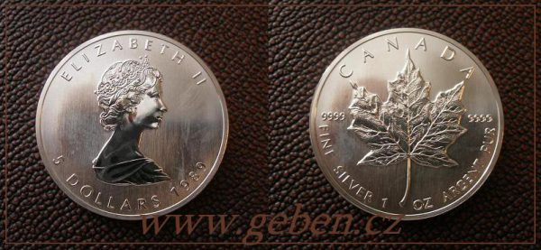 5 Dollars 1989 Maple Leaf - Druhý rok ražby