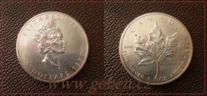 5 Dollars 1990 Maple Leaf - Třetí rok ražby