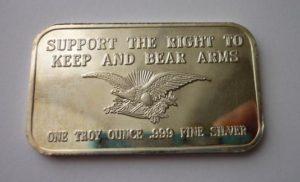 Stříbrný slitek 1 Oz Právo držet a nosit zbraně