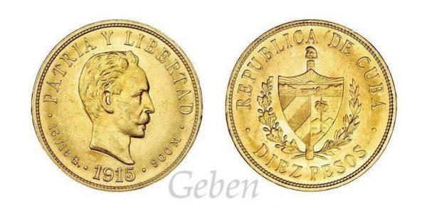10 Pesos 1915 Vzácné
