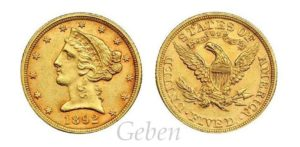 5 Dollars 1892 Liberty / Coronet Head - Half Eagle