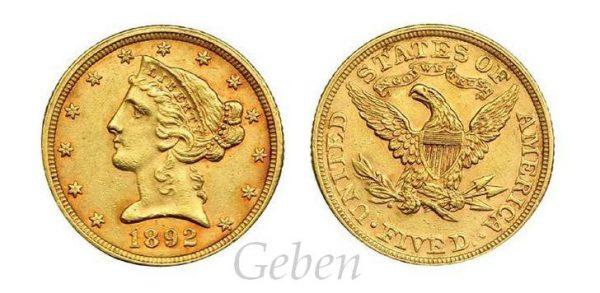 5 Dollars 1892 Liberty / Coronet Head - Half Eagle