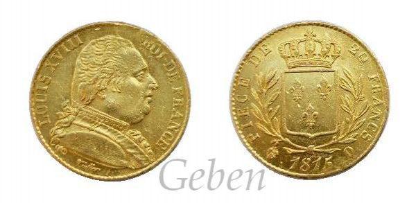20 Frank 1815 Q ! Louis XVIII.