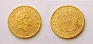5 PESOS Colombia 1929 - LIBRA !