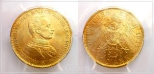 20 Marka 1914 A Prusko Wilhelm II. MS63 !