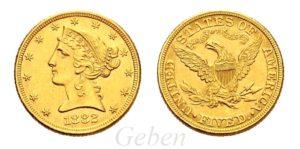 5 Dollars 1882 Liberty Head – Half Eagle