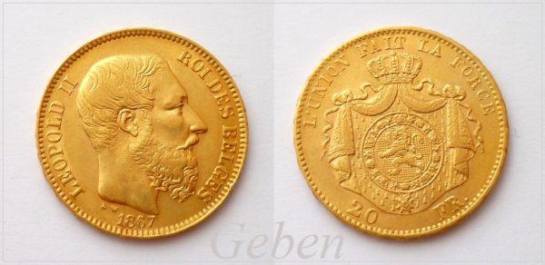 20 Frank 1867 Leopold II. Belgie