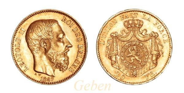 20 Frank 1867 Leopold II. první typ