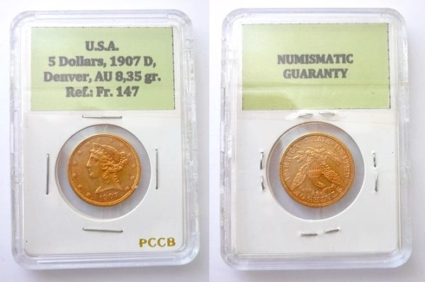 5 dollars 1907 D Liberty