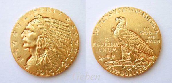 5 Dollars 1910 Indian Head