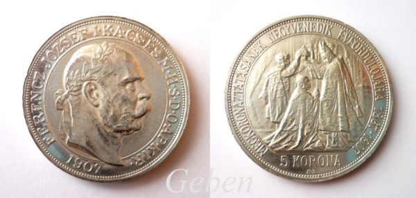 5 KORUNA 1907 KB Korunovační PROOF