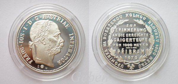 Příbramský zlatník 1875 - Ag novoražba PROOF