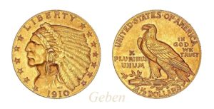 2 1/2 Dollars 1910 Indian Head – Quarter Eagle